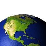 Centraal en Noord-Amerika op model van Aarde met in reliëf gemaakt land Royalty-vrije Stock Foto's
