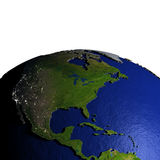 Centraal en Noord-Amerika op model van Aarde met in reliëf gemaakt land Stock Foto's