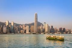 Centraal gebied van Hong Kong die van de overkant van Victoria-haven kijken Stock Fotografie