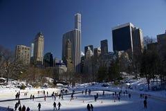 Centraal het parkijs die van New York, Manhattan schaatsen Stock Afbeelding