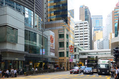 Centraal Hong Kong Des Voeux Road Stock Afbeelding
