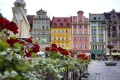 Centraal marktvierkant in Wroclaw, Polen stock foto