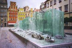 Centraal marktvierkant in Wroclaw, Polen stock foto's