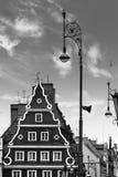 Centraal marktvierkant in Wroclaw Polen met de oude huizen en lamp van de straatlantaarn Het concept van de reisvakantie Rebecca  royalty-vrije stock fotografie