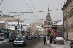 Centraal Moskou op de winter Stock Afbeelding