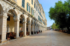 Centraal plein van Korfu, Griekenland Stock Afbeeldingen