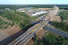 Centraal Ring Road a-113, Bouw van de Nieuwe Brug over Mocha-rivier royalty-vrije stock foto