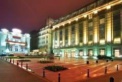 Centraal 's nachts Boekarest Stock Foto