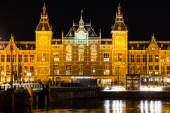 Centraal Station in Amsterdam at Night Royalty Free Stock Photos