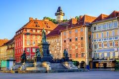 Centraal vierkant in de Oude Stad van Graz, Oostenrijk Stock Afbeeldingen