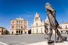 Centraal Vierkant, Grammichele, Sicilië Royalty-vrije Stock Foto