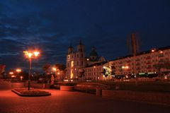 Centraal vierkant in Grodno, Wit-Rusland Royalty-vrije Stock Fotografie