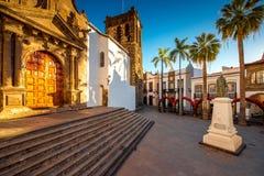 Centraal vierkant in oude stad Santa Cruz de la Palma stock afbeelding
