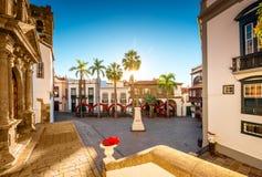 Centraal vierkant in oude stad Santa Cruz de la Palma Royalty-vrije Stock Fotografie
