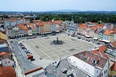 Centraal vierkant van Ceske Budejovice, Tsjechische Republiek Royalty-vrije Stock Afbeeldingen