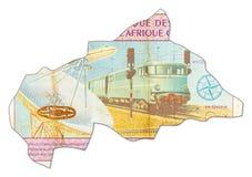 10000 Centraalafrikaanse CFA frankbank in vorm van Centraal-Afrika royalty-vrije illustratie