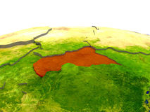 Central Africa on Earth in red Royalty Free Stock Photography