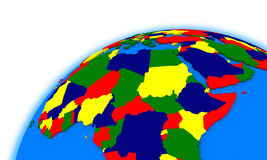 Central Africa on globe political map Royalty Free Stock Photo