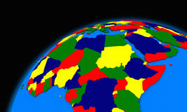 Central Africa on planet Earth political map Royalty Free Stock Photos