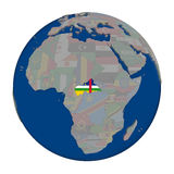 Central Africa on political globe Stock Images