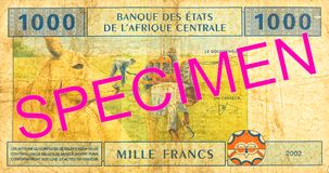 1000 central african CFA franc bank note reverse. Specimen royalty free stock photos