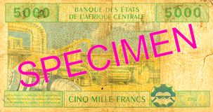 5000 central african CFA franc bank note reverse. Specimen stock photo