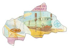 10000 central african CFA franc bank in shape of Central Africa royalty free illustration
