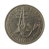 100 central african CFA franc coin 1978 reverse. Isolated on white background, specimen stock photography