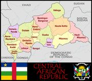 Central African Rep Administrative divisions Stock Photography