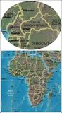 Central African Republic and Africa map Stock Image
