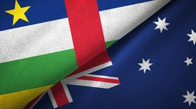 Central African Republic and Australia two flags textile cloth, fabric texture. Central African Republic and Australia flags together textile cloth, fabric royalty free stock images