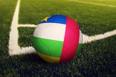 Central African Republic ball on corner kick position, soccer field background. National football theme on green grass.  stock photography