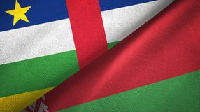 Central African Republic and Belarus two flags textile cloth, fabric texture. Central African Republic and Belarus flags together textile cloth, fabric texture royalty free stock photo