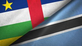 Central African Republic and Botswana two flags textile cloth, fabric texture. Central African Republic and Botswana two folded flags together stock photos