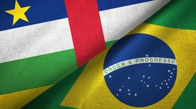 Central African Republic and Brazil two flags textile cloth, fabric texture. Central African Republic and Brazil flags together textile cloth, fabric texture stock photos