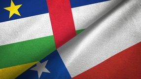 Central African Republic and Chile two flags textile cloth, fabric texture. Central African Republic and Chile flags together textile cloth, fabric texture stock photography