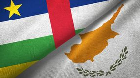 Central African Republic and Cyprus two flags textile cloth, fabric texture. Central African Republic and Cyprus flags together textile cloth, fabric texture stock image