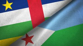 Central African Republic and Djibouti two flags textile cloth, fabric texture. Central African Republic and Djibouti two folded flags together royalty free stock photography