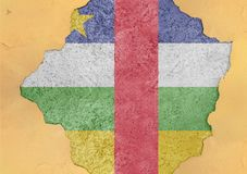 Central African Republic flag abstract in facade structure big wall royalty free stock photo