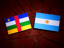 Central African Republic flag with Argentinian flag on a tree st. Ump Royalty Free Stock Photography