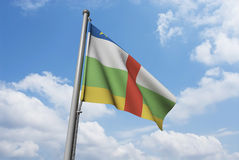 Central African Republic Flag with Clouds Royalty Free Stock Photos