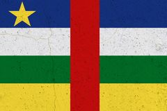 Central African Republic flag on concrete wall royalty free stock images