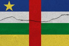 Central African Republic flag on concrete wall with crack royalty free stock images