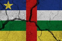 Central African Republic flag on the cracked earth royalty free stock images