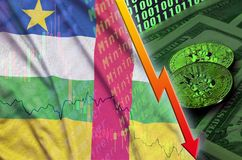 Central African Republic flag and cryptocurrency falling trend with two bitcoins on dollar bills and binary code display royalty free illustration