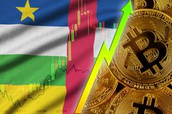 Central African Republic flag and cryptocurrency growing trend with many golden bitcoins stock photography