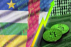 Central African Republic flag and cryptocurrency growing trend with two bitcoins on dollar bills and binary code display royalty free stock photos