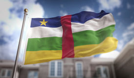 Central African Republic Flag 3D Rendering on Blue Sky Building royalty free stock images