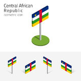 Central African Republic flag, 3D vector isometric icons. Central African Republic flag CAR, vector set of isometric flat icons, 3D style. African country flags Stock Photo