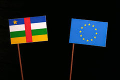 Central African Republic flag with European Union EU flag isolated on black. Background Royalty Free Stock Photography